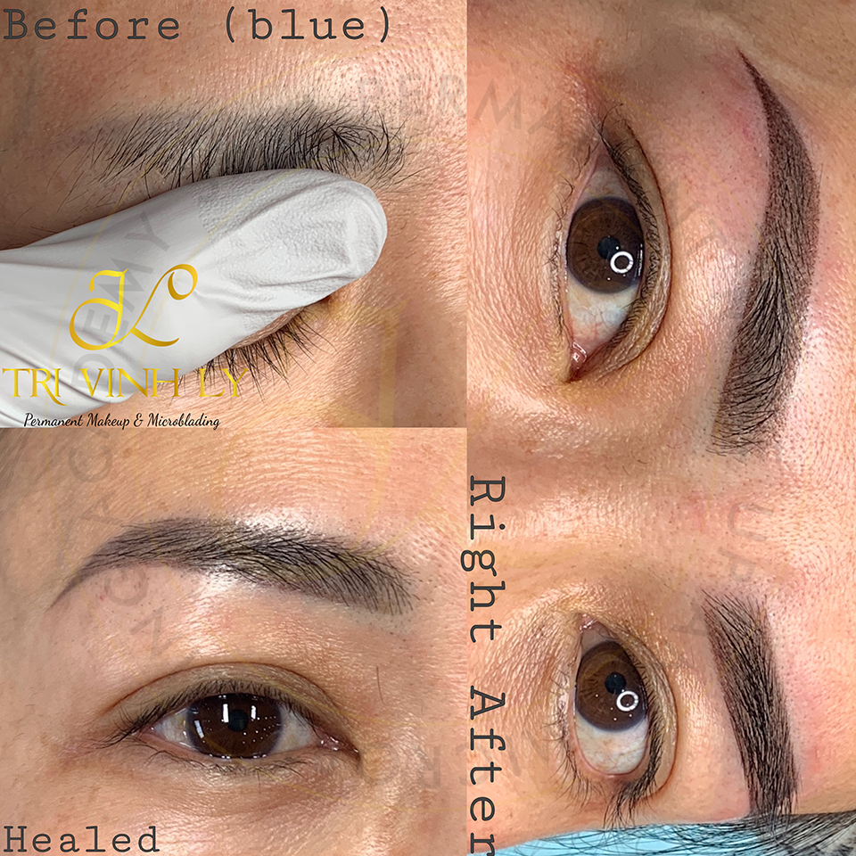 Sharp Ombré shading eyebrows by TriVinhLy - -TVL PMU - CoveredBluebrows-Healed-ATSP